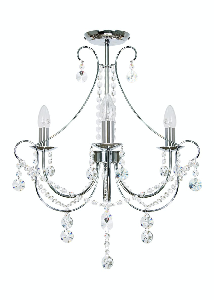 Coniston Flush 3 Arm Chandelier (H64cm x W50cm)