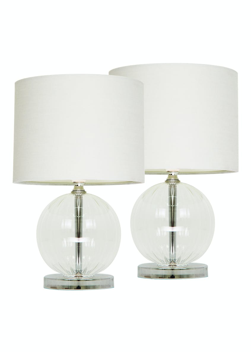 2 Pack Lester Ribbed Glass Table Lamps (H29cm x W18cm)