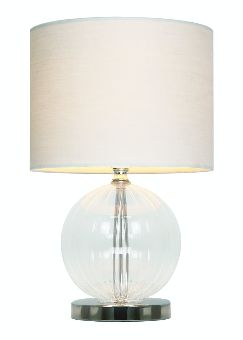 Lester Ribbed Glass Table Lamp (H29cm x W18cm)