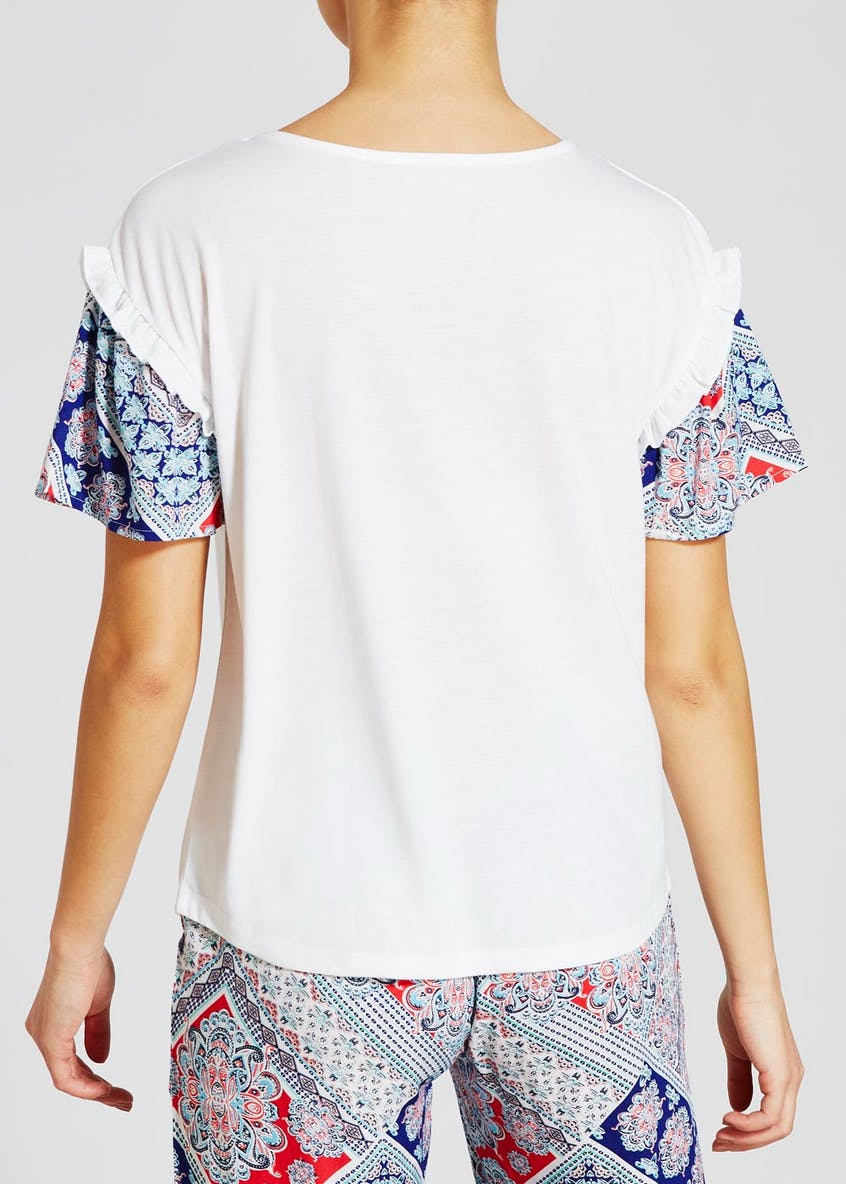Frill Sleeve Tile Print Pyjama Top