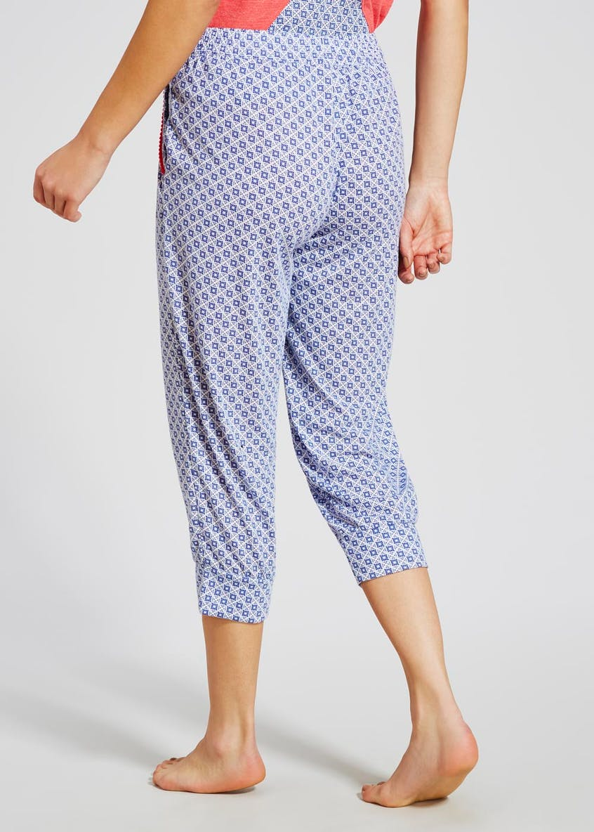Tile Print Cuffed Cropped Pyjama Bottoms
