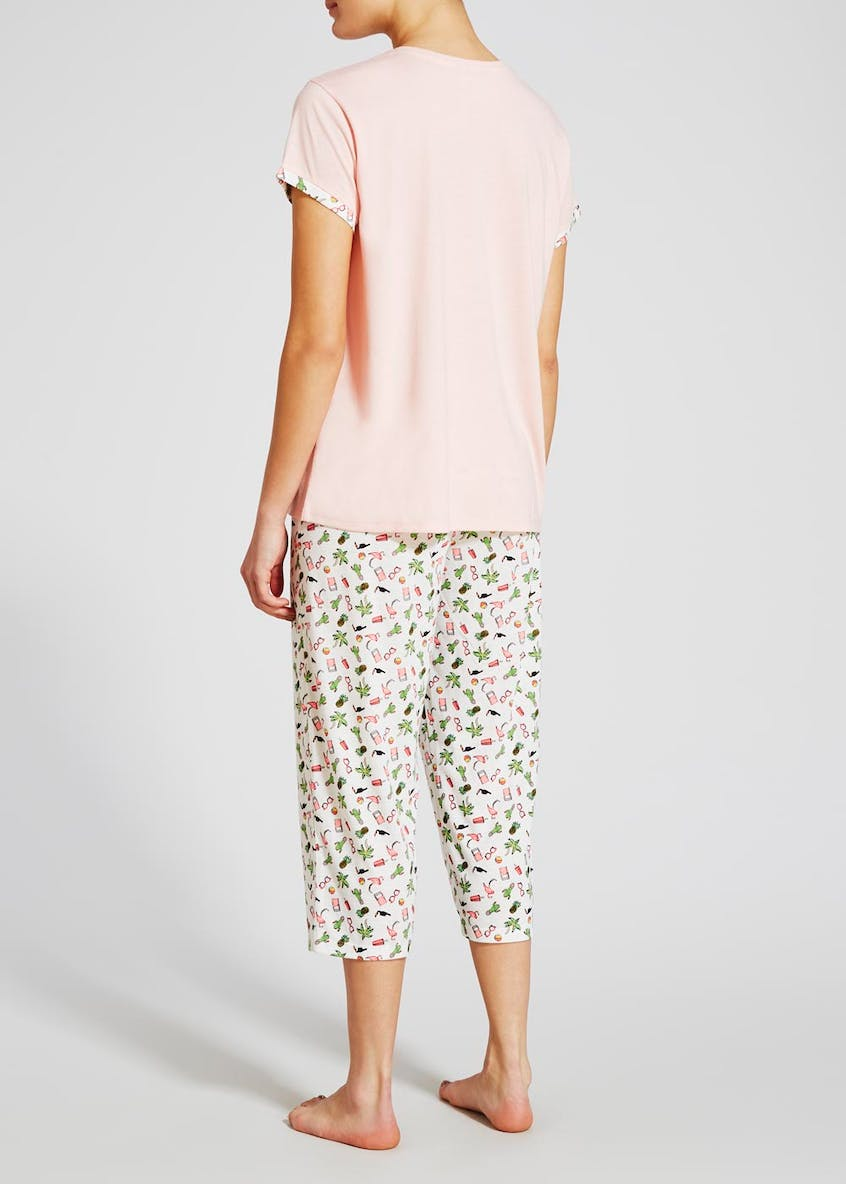 Holiday Print Cropped Pyjama Set