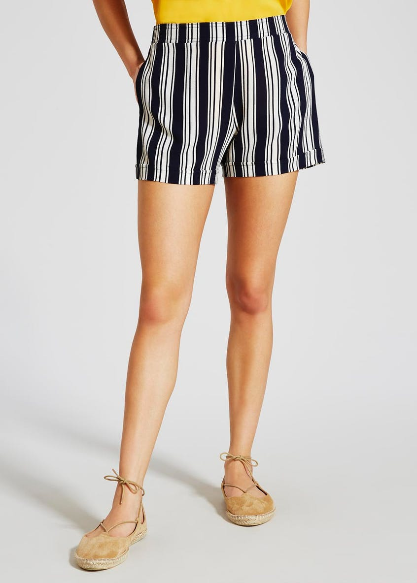 Flat Front Stripe Shorts