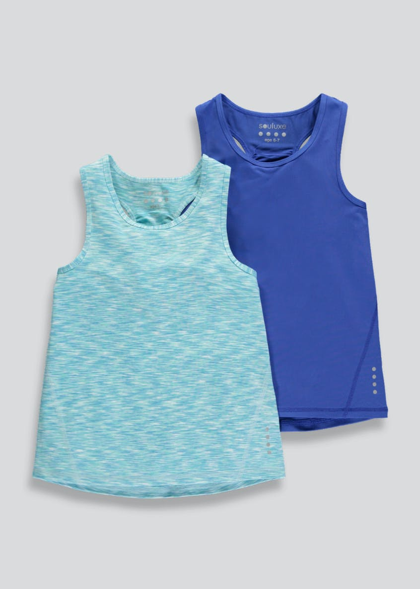 Girls Souluxe 2 Pack Sports Vests (4-13yrs)