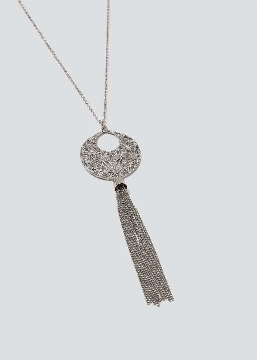 Cut Out Tassel Pendant Necklace