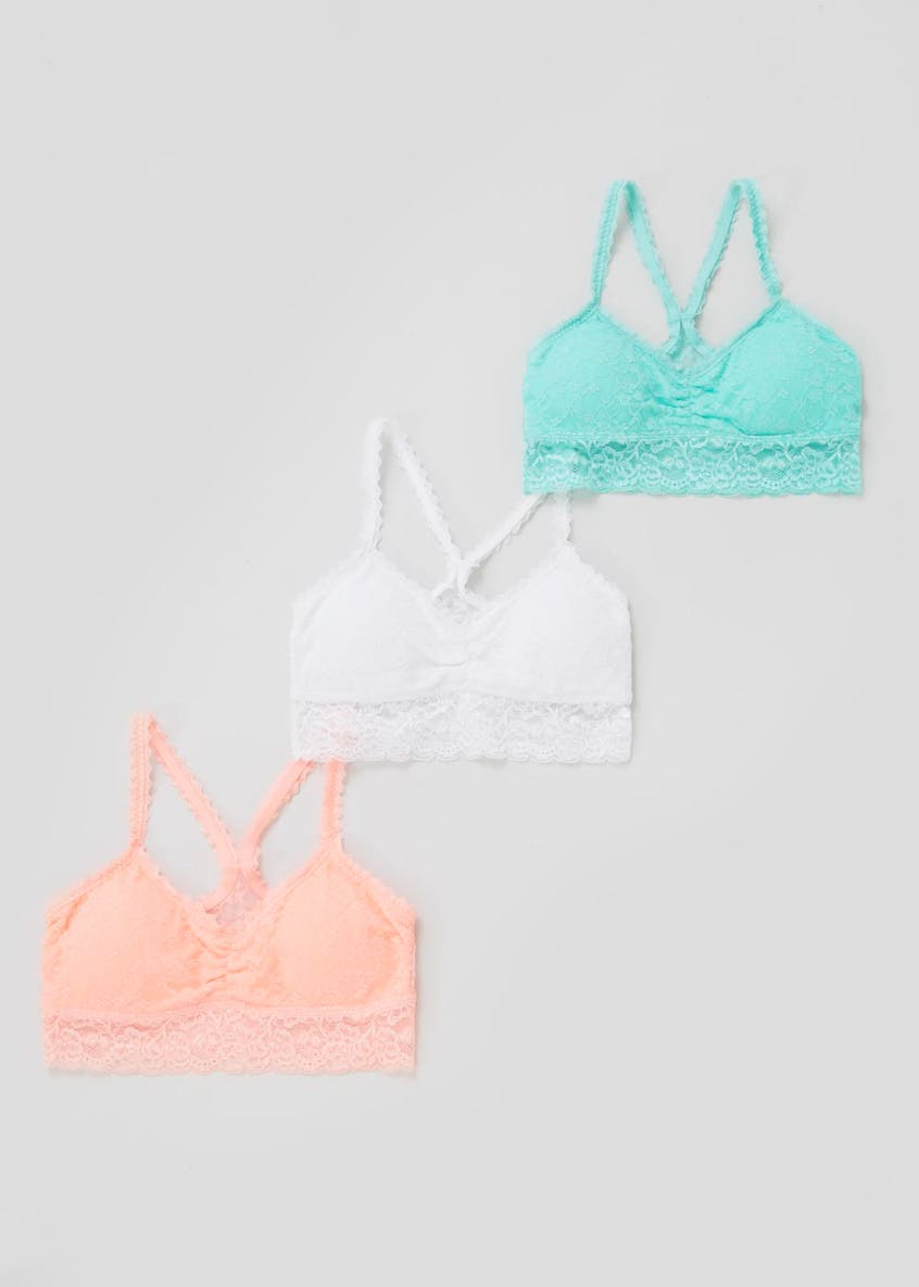 3 Pack Lace Non-Wired Bralettes