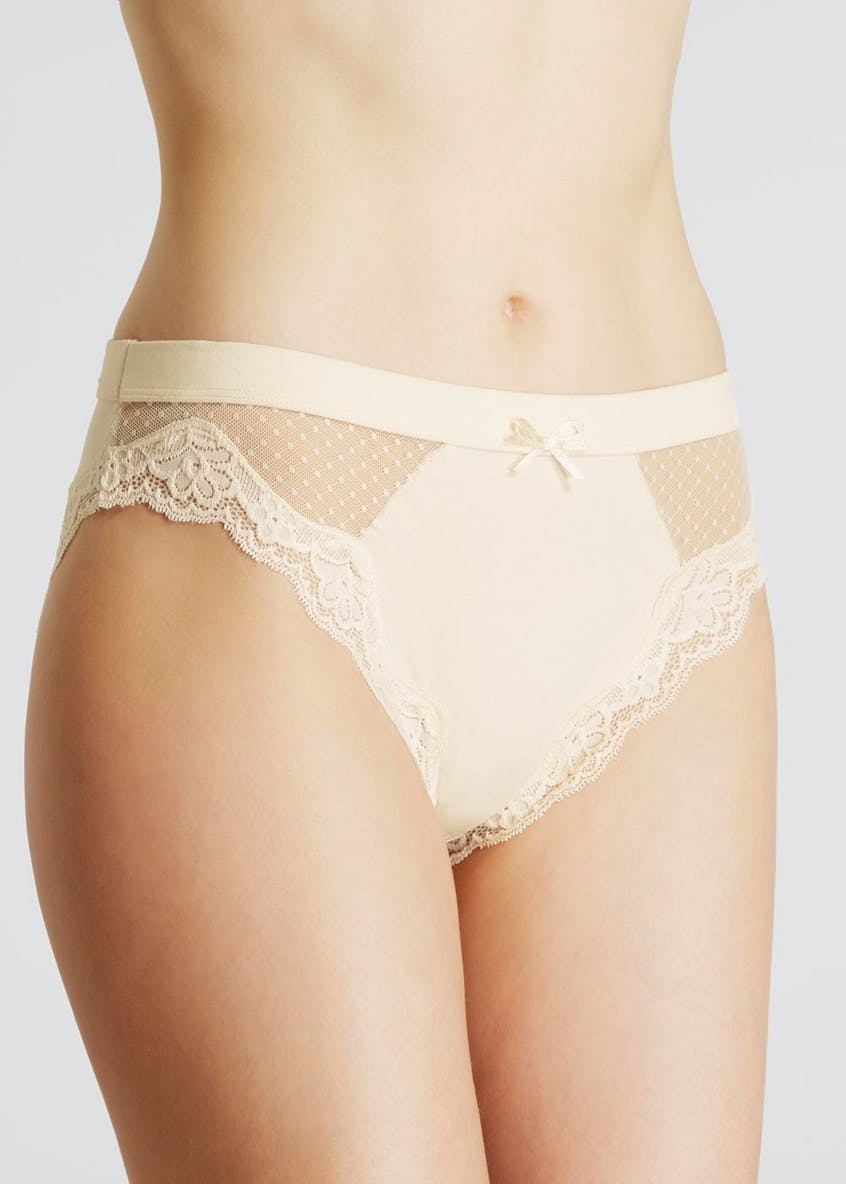 Dotted Mesh & Lace High Leg Knickers