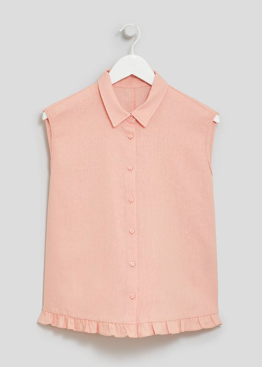 Frill Sleeveless Linen Shirt