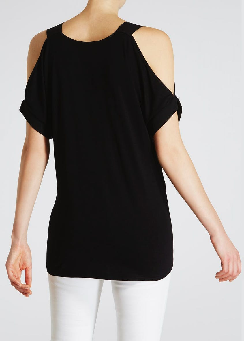 Woven Front Cold Shoulder Top