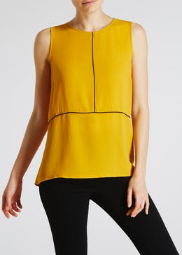Piped Woven Front Vest Top