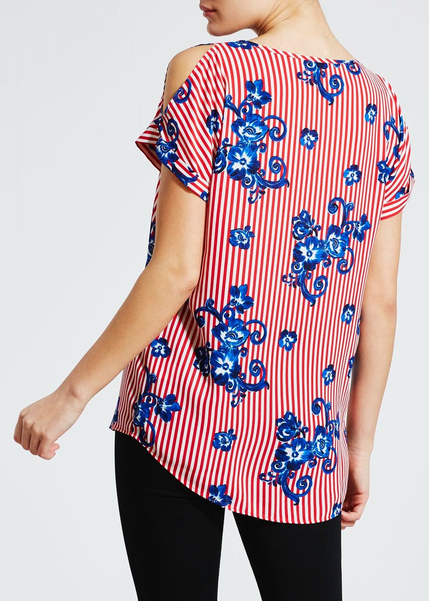 Floral Stripe Cold Shoulder Box Top