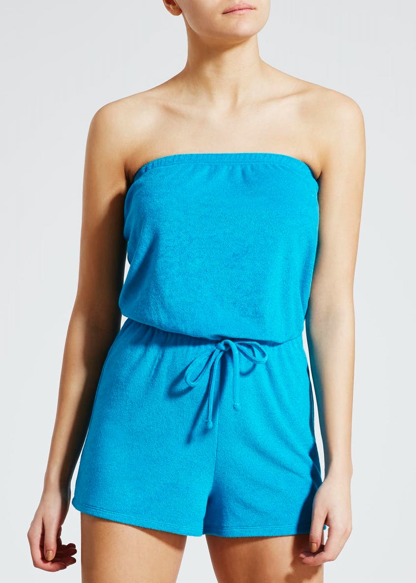Towelling Bandeau Playsuit - Blue
