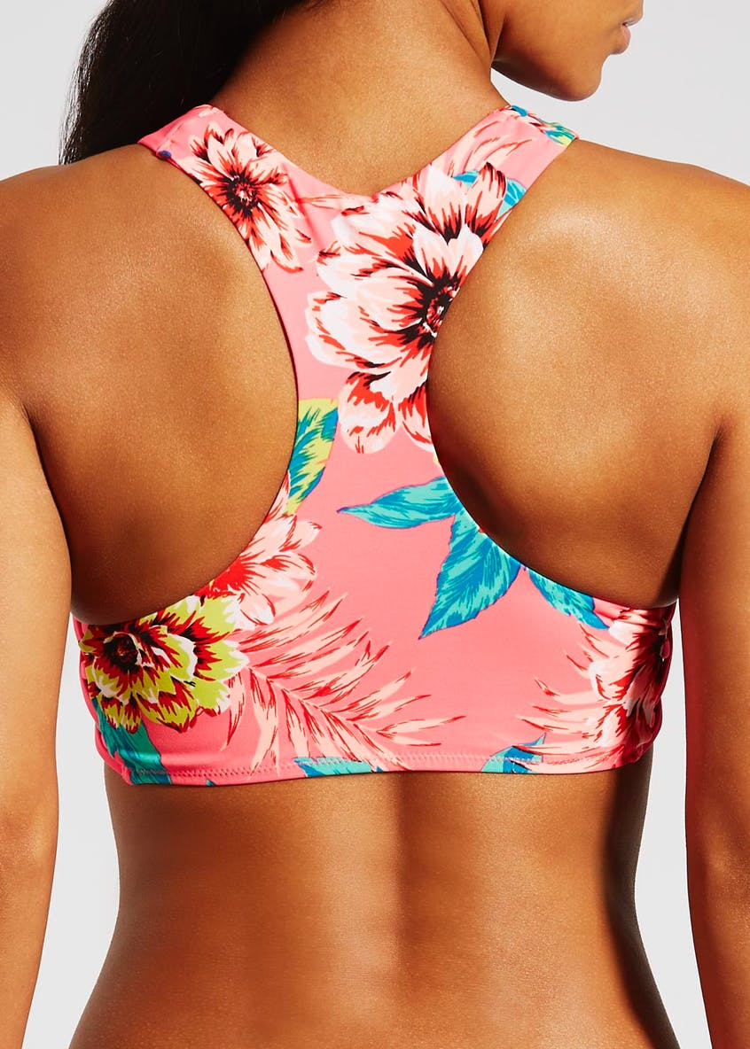 Tropical Floral High Neck Bikini Top