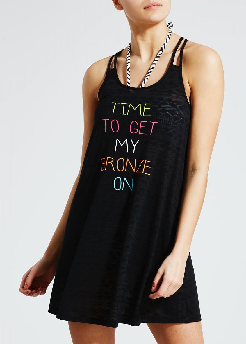 Bronze Slogan Vest Beach Dress