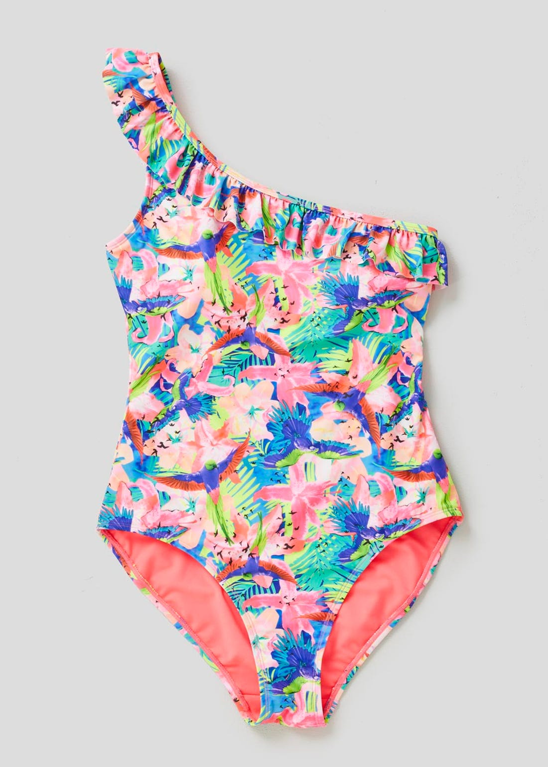Tropical Ruffle One Shoulder Swimsuit