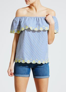 Stripe Embroidered Frill Bardot Blouse