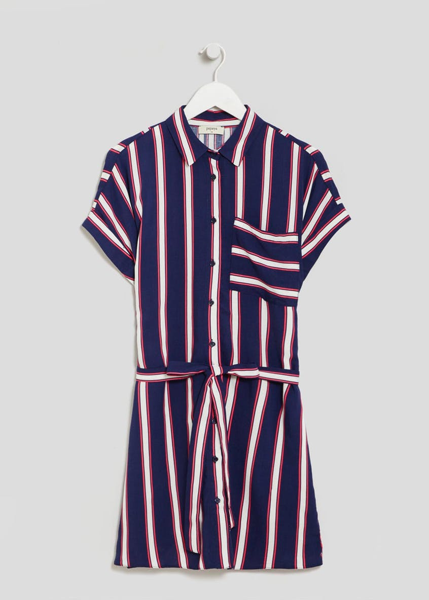 Stripe Short Sleeve Shirt Dress - Navy