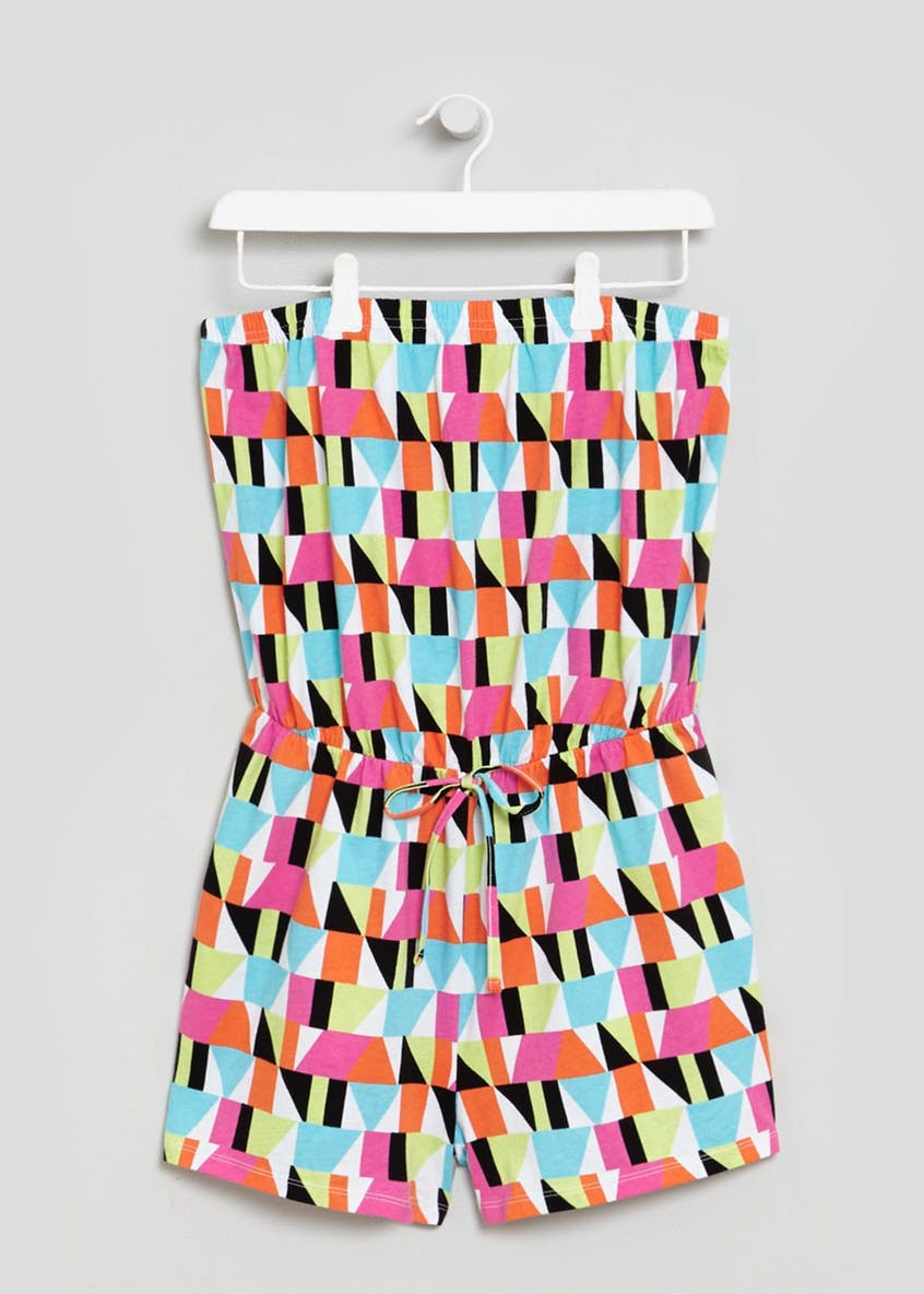 Geometric Print Bandeau Playsuit