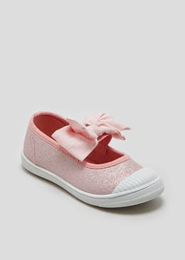 Girls Knotted Bow Canvas Pumps (Younger 4-9)