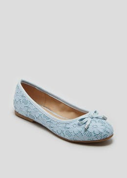 Girls Floral Lace Ballet Shoes (Younger 10-Older 5)