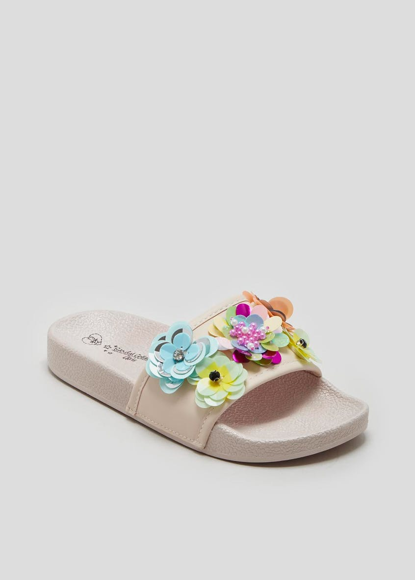 Girls Flower Embellished Sliders (Younger 10-Older 5)