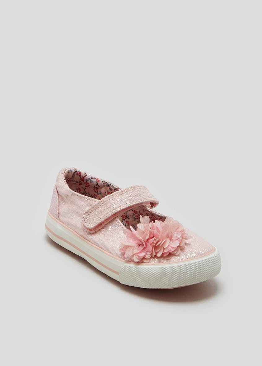 Girls Flower Riptape Strap Canvas Pumps (Younger 4-12)