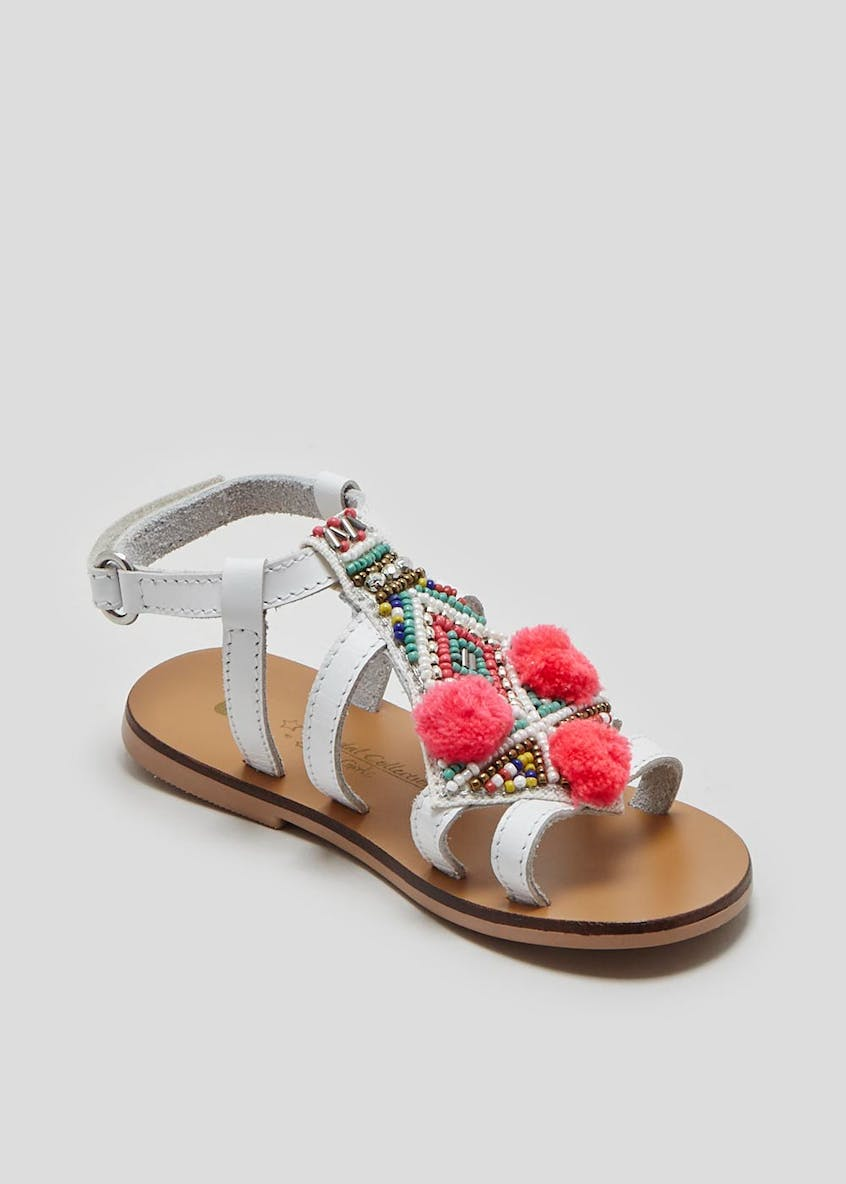 Girls Real Leather Pom Pom Sandals (Younger 4-9)