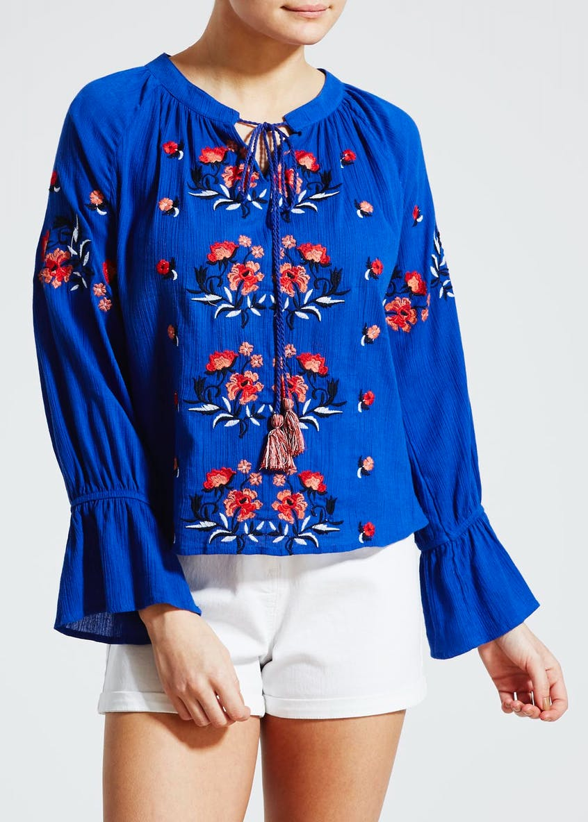 Embroidered Bell Sleeve Boho Blouse