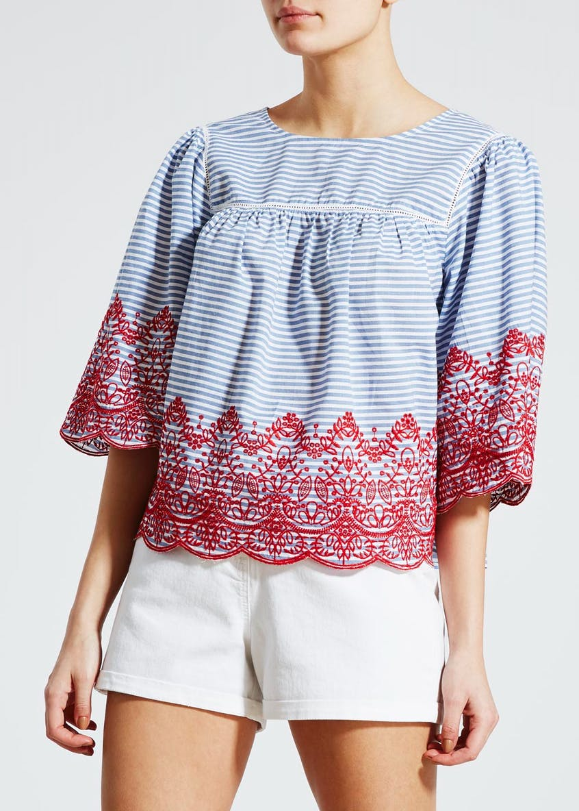 Stripe Embroidered Blouse