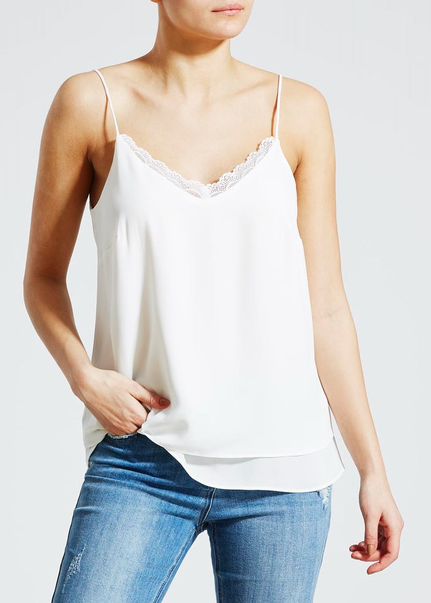 Lace Trim Double Layer Cami