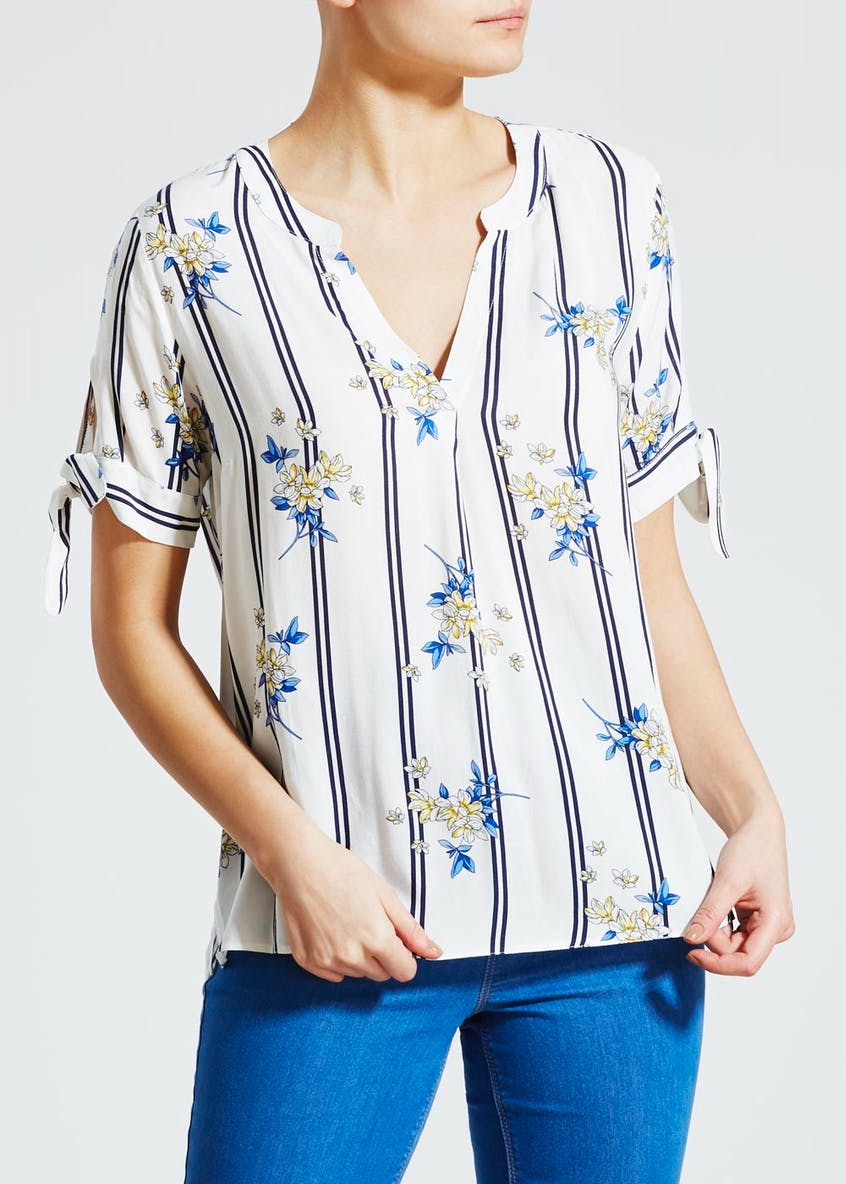 Floral Short Sleeve Grandad Collar Blouse