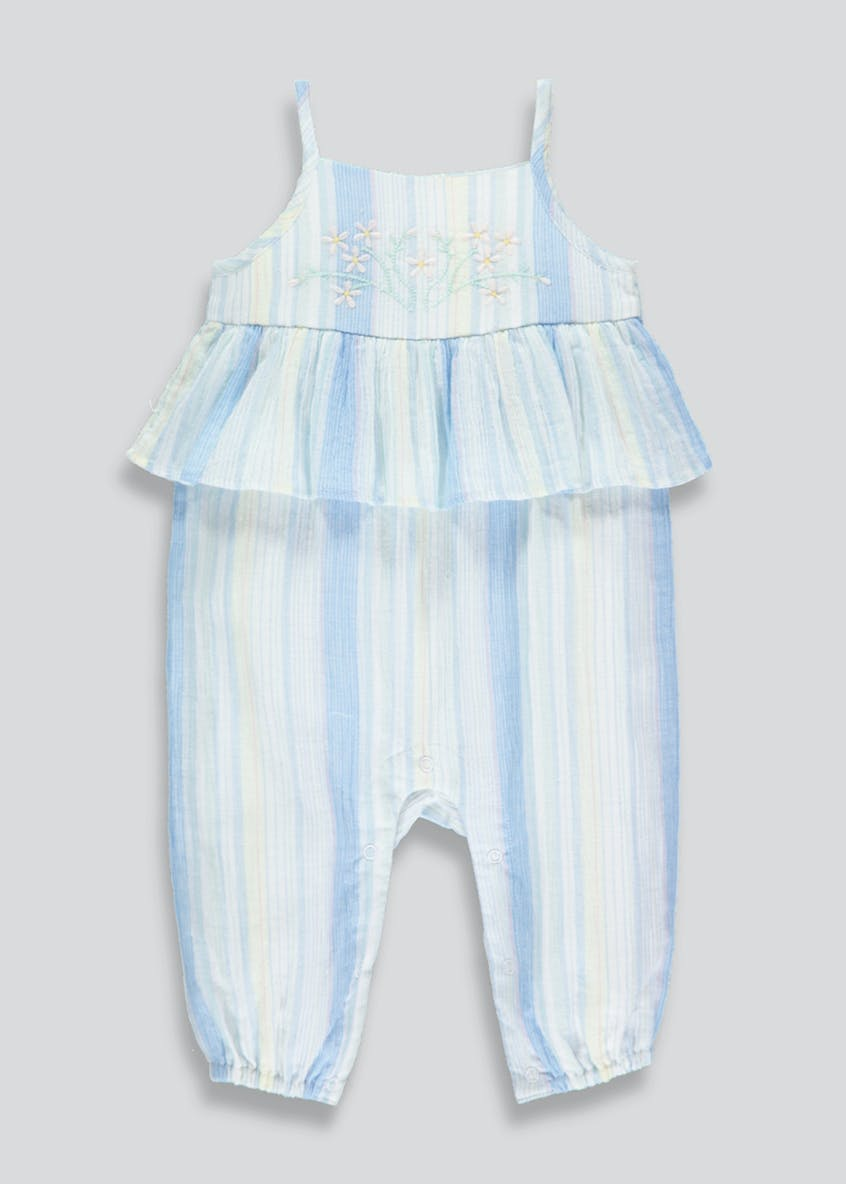 Girls Crinkle Stripe Romper (Newborn-18mths)