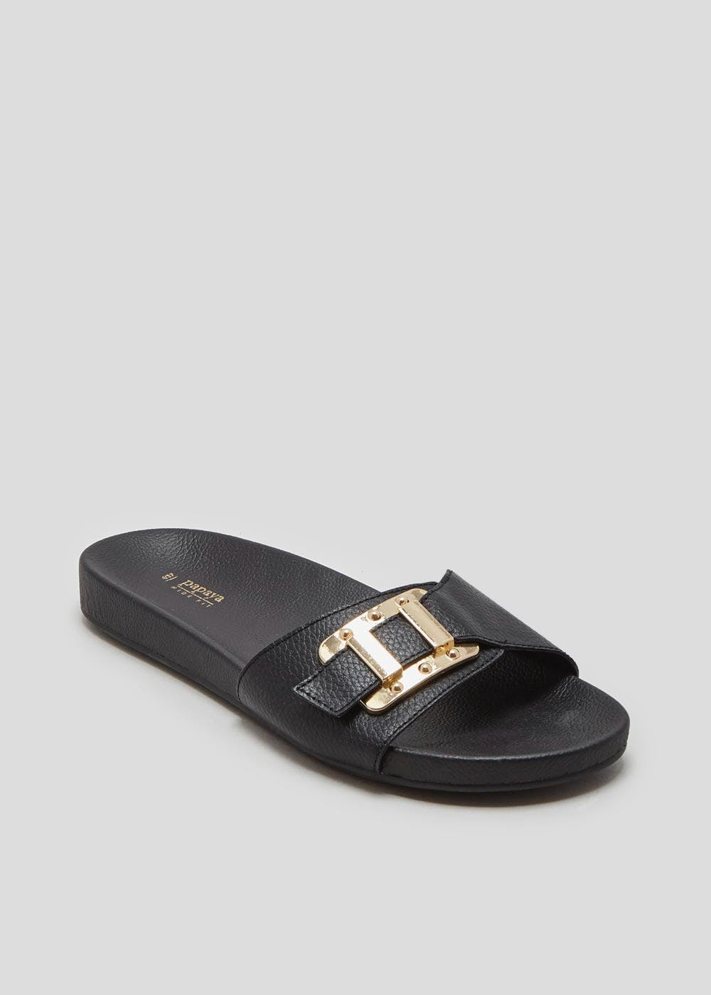 ce5cf2655a1e Wide Fit Buckle Sliders – Black – Matalan