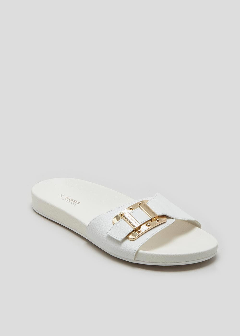 06c369eb859e Wide Fit Buckle Sliders – White – Matalan