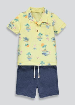 Boys Printed Polo & Shorts Set (3mths-6yrs)