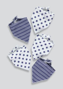 5 Pack Star & Stripe Bandana Bibs (One Size)