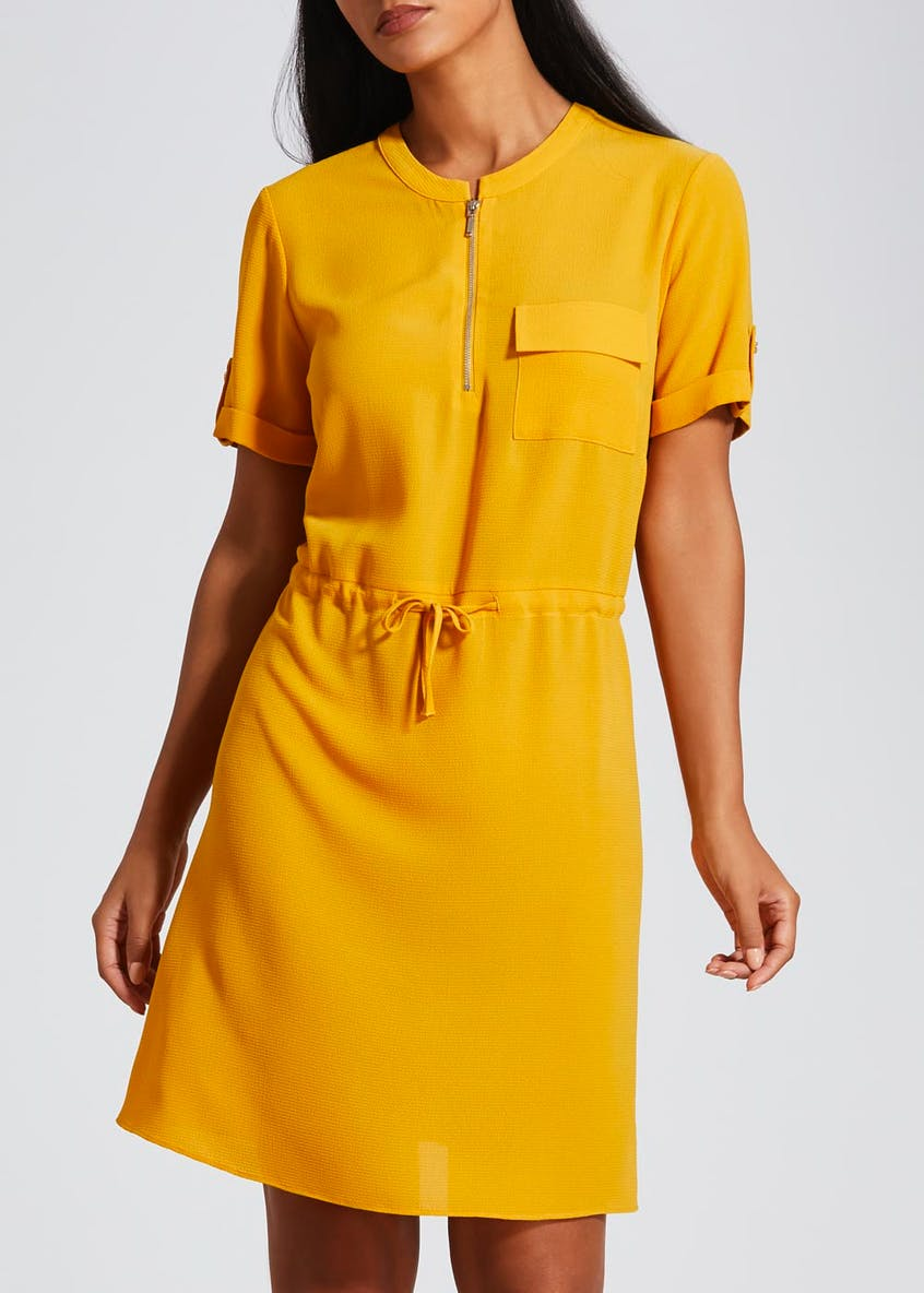 Short Sleeve Utility Dress - Mustard