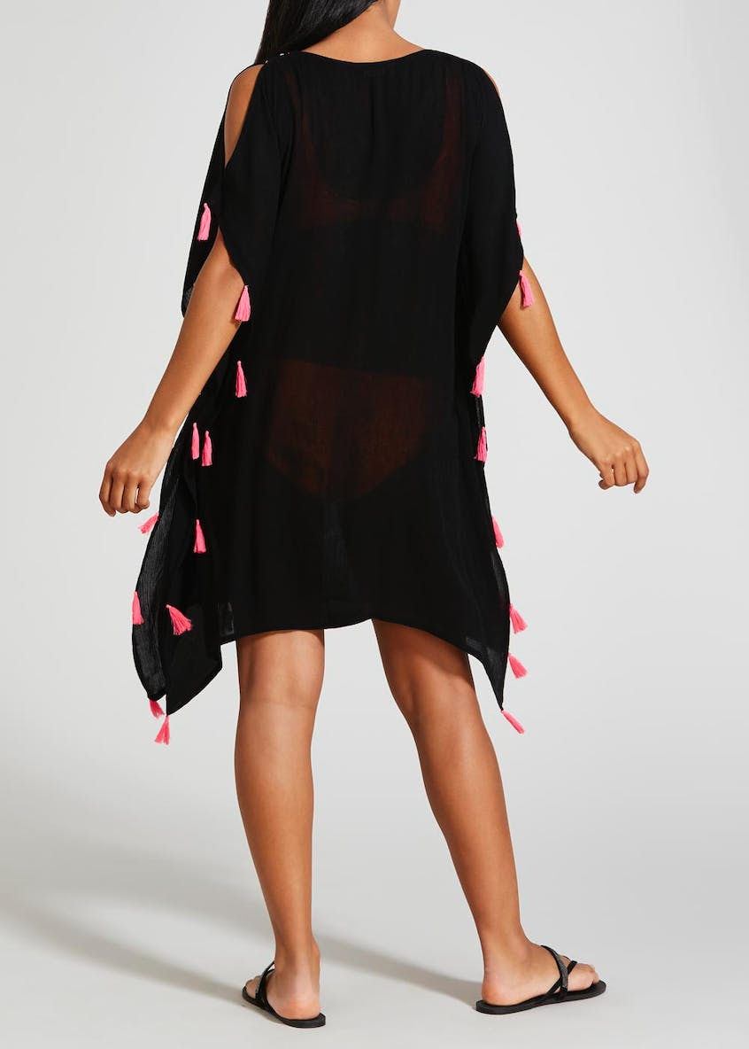 Embroidered Mirror Tassel Kaftan