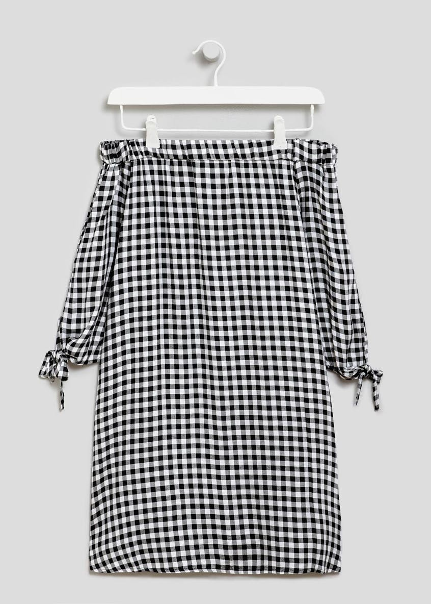 Gingham Bardot Dress - Black