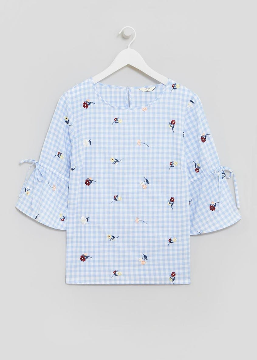 Tie Sleeve Gingham Embroidered Blouse