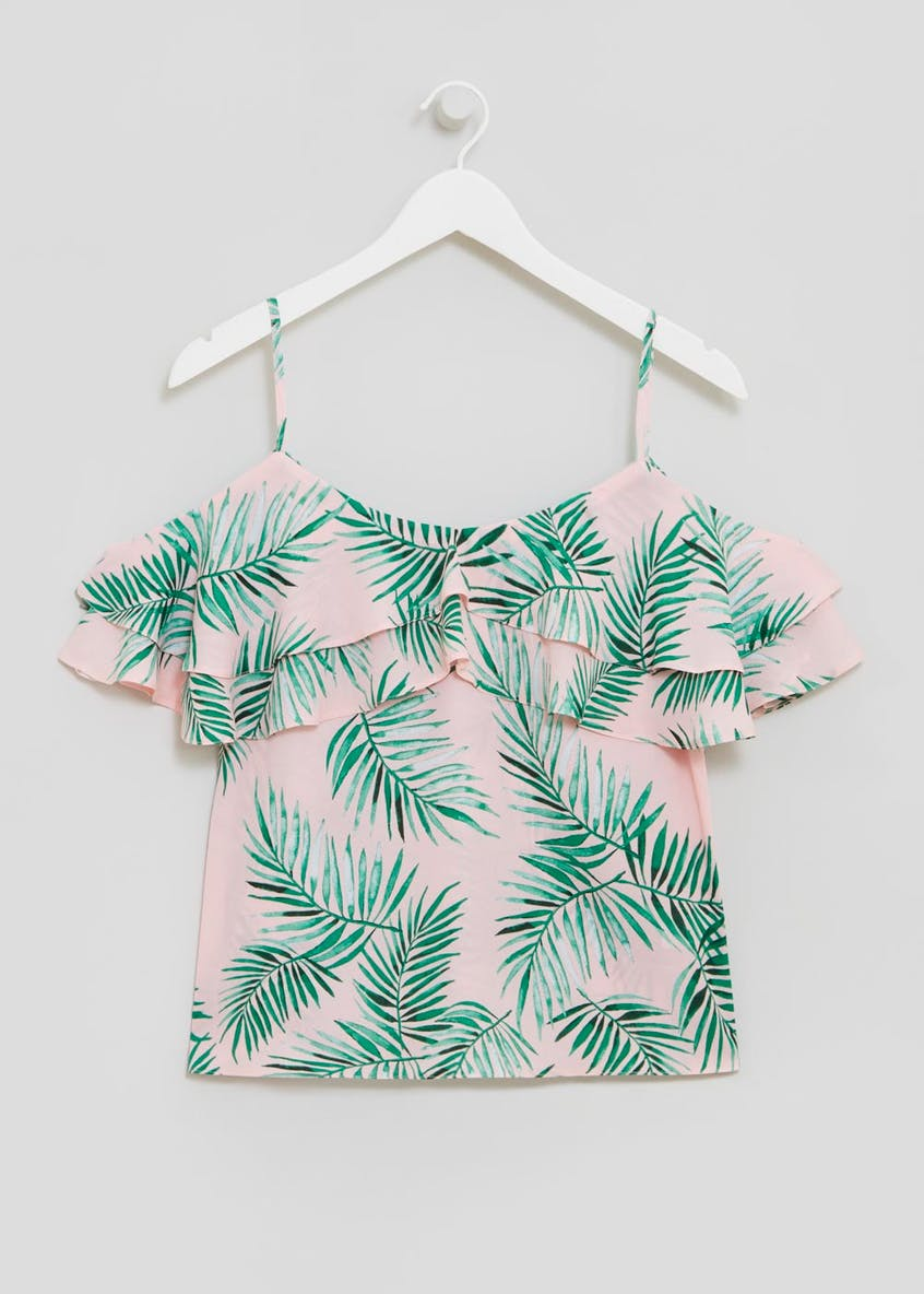 Palm Print Frill Cold Shoulder Top