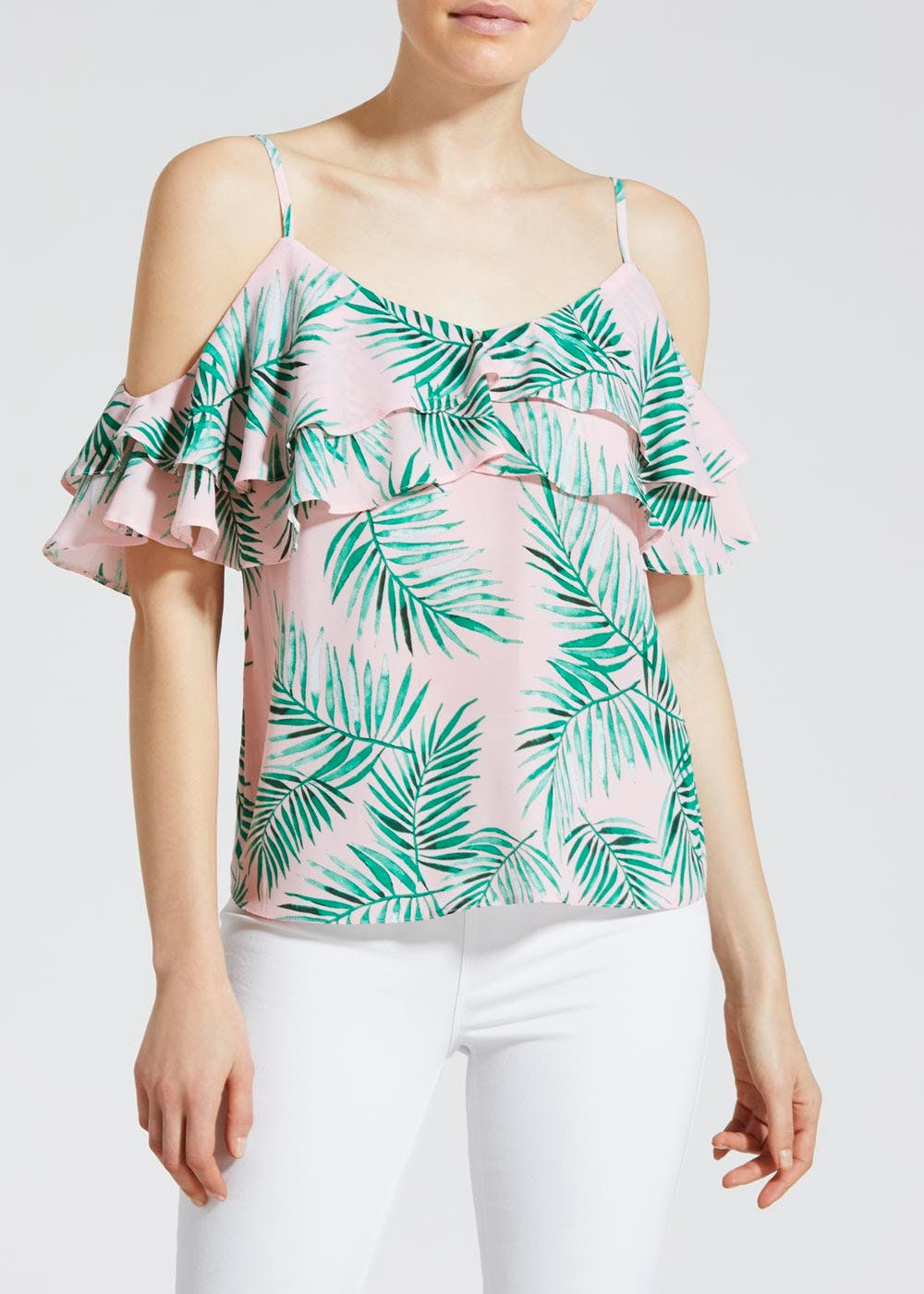 72fc41446f6c64 Palm Print Frill Cold Shoulder Top – Pastel Pink – Matalan