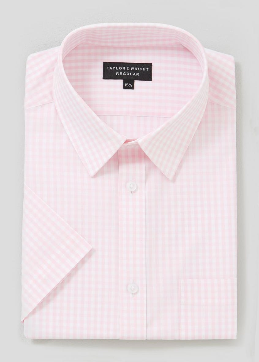 Regular Fit Short Sleeve Gingham Check Shirt