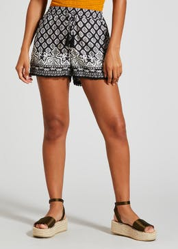 Pom Pom Border Print Viscose Shorts