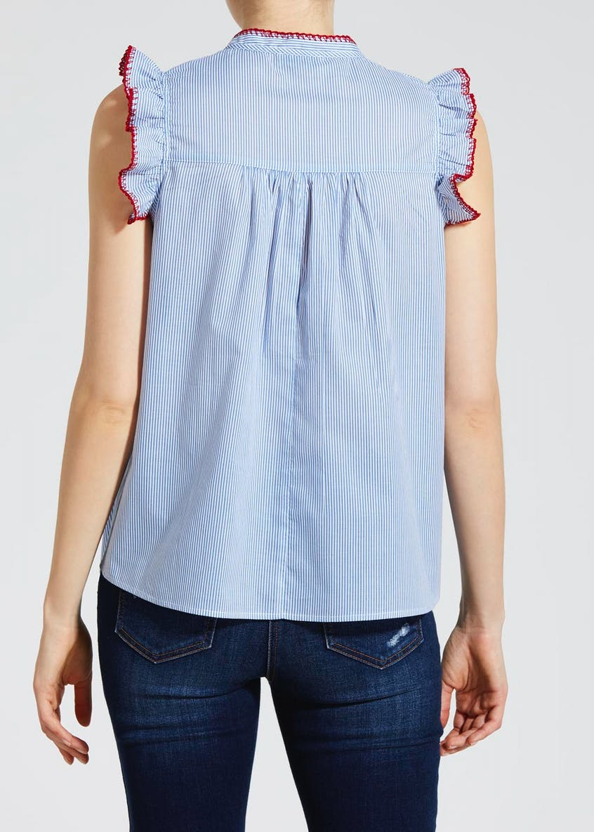 Stripe Embroidered Frill Sleeve Blouse