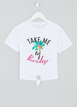 Girls Candy Couture Paradise Slogan T-Shirt (9-16yrs)