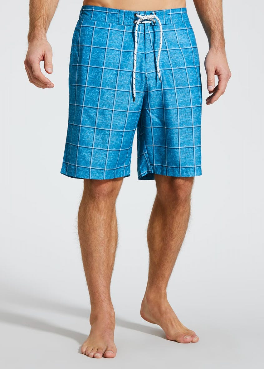 Long Length Grid Print Swim Shorts