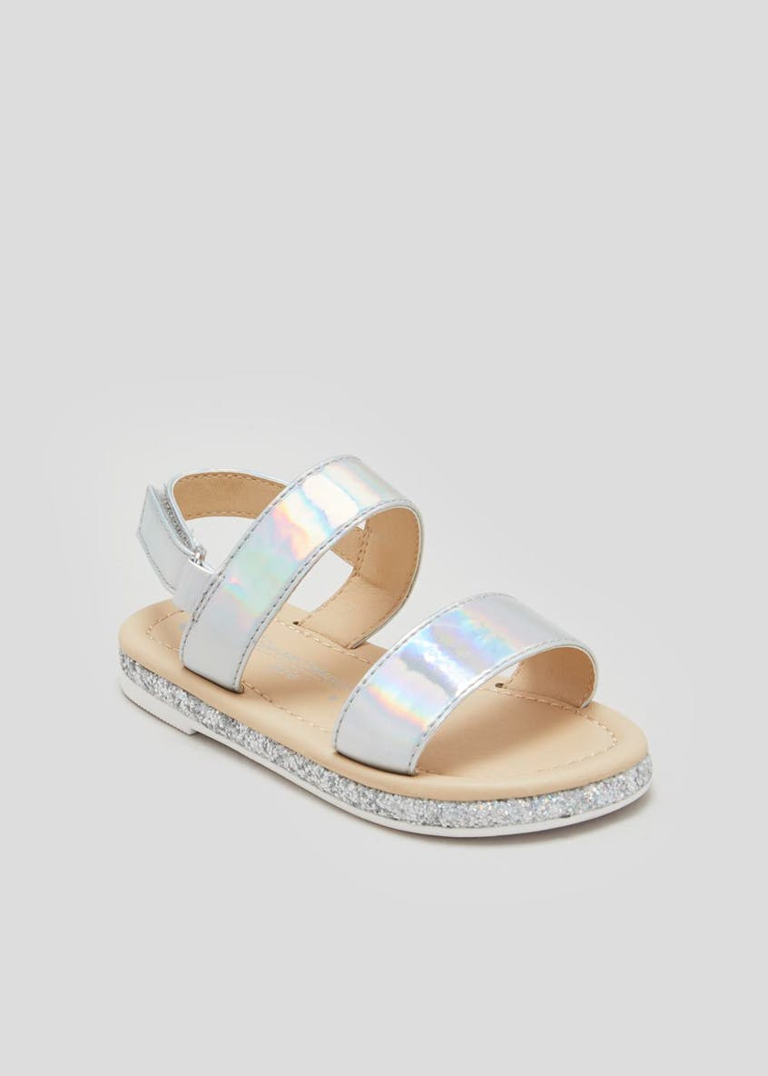 Girls Holographic Two Strap Sandals (Younger 4-12)