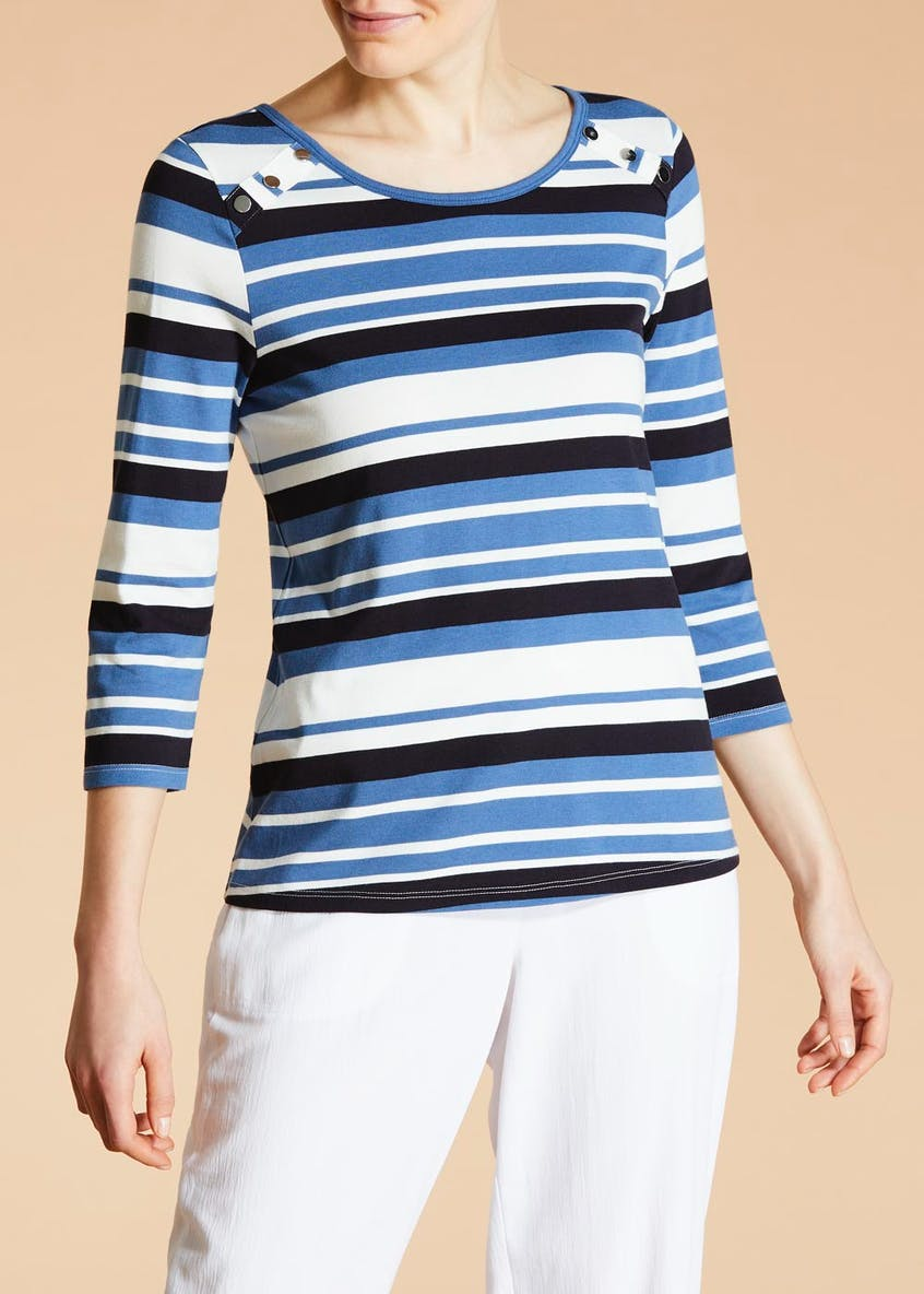 Button Shoulder Stripe Top