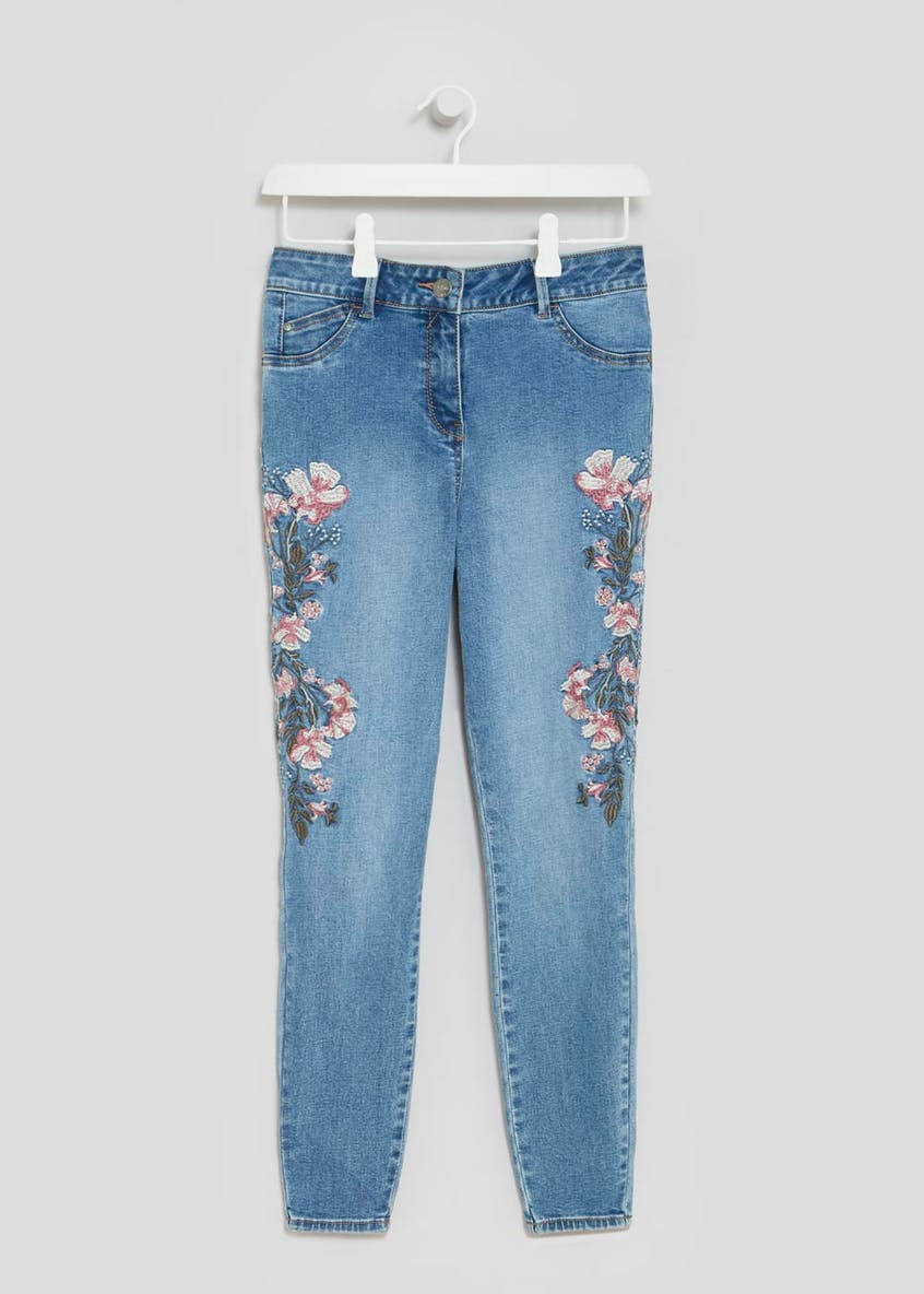 April Floral Embroidered Super Skinny Jeans